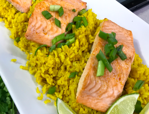 Broiled Salmon with Turmeric Rice