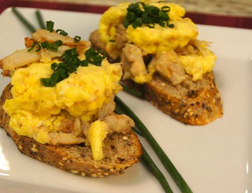 Creamy Eggs with Crab and Chives
