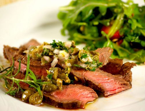 Grilled Steak with Caper Vinaigrette