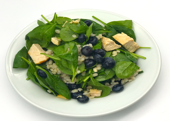 Chicken barley blueberry spinach salad