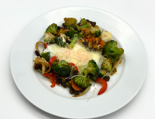 Baked Eggs, Vegetables, Black Beans and Parmesan Cheese