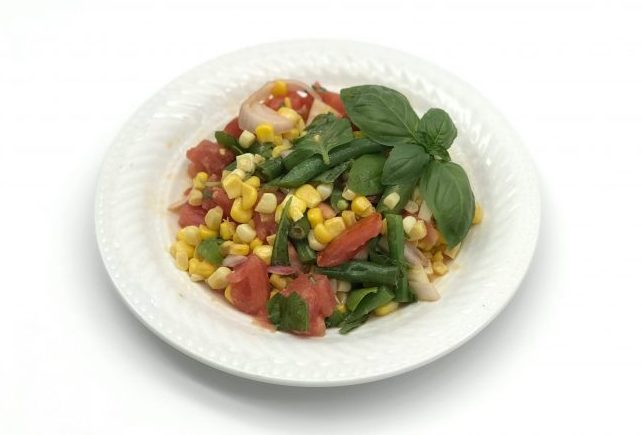 sweet corn tomato green bean salad